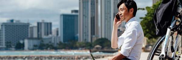 Servcorp Virtual Office Man on Phone Outside