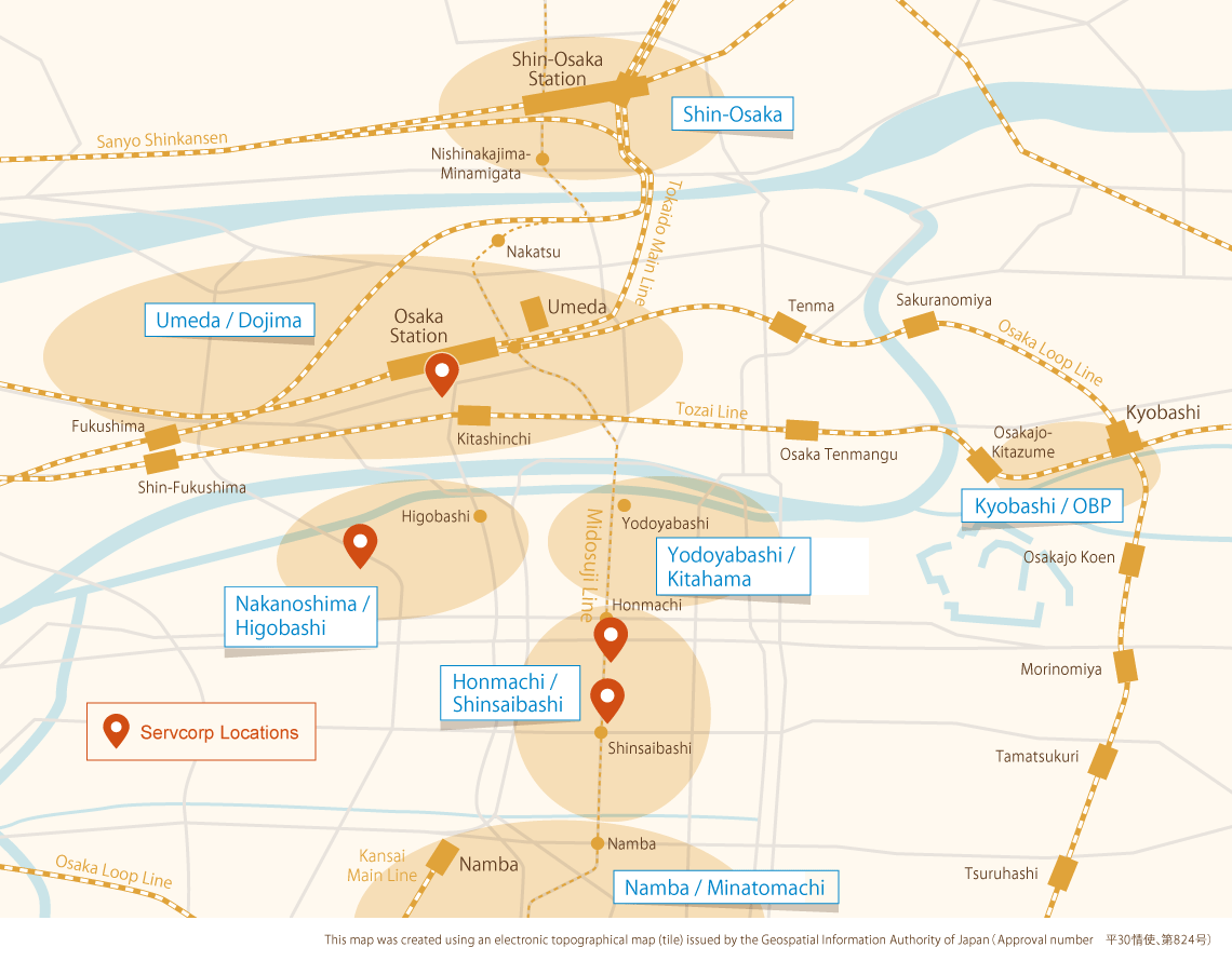 Osaka business district and Servcorp location map